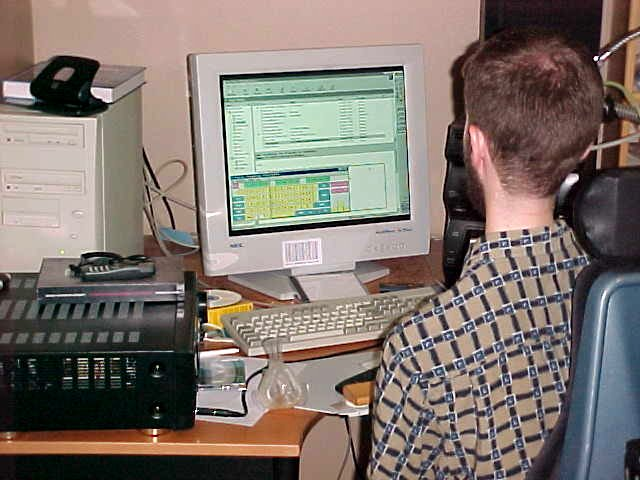 John Alrid typs on his computer with this keyboard featuring programme.