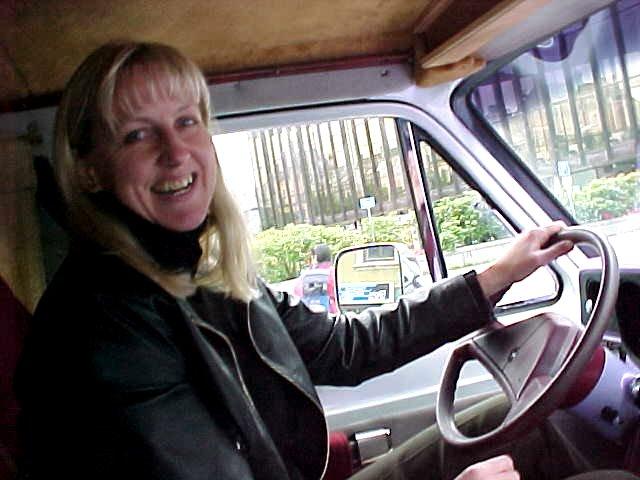 My new hostess for tonight: Anna Margit Grindheim in her car.