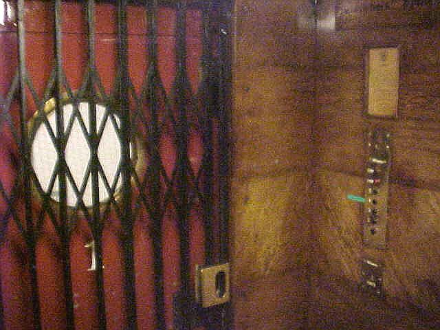 Leaving the hostel Marken Gjestehus in its 1934 wooden elevator...