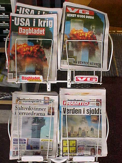 At the gas station I can not deny the Norwegian newspapers.