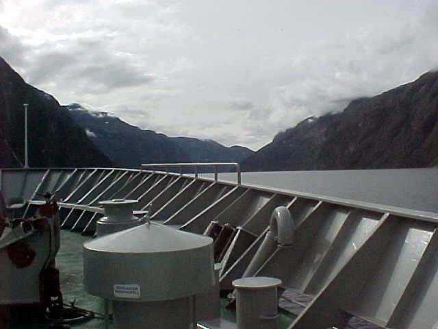 Endless mountain ranges in the fjords the steamer sailed.