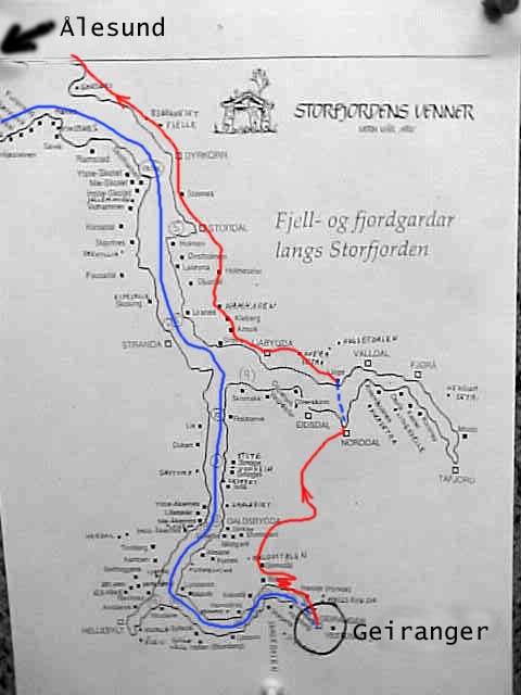 The blue line is the route of the Hurtigruten steamer, the red line is the route of the bus, taking me and some 40 others on an excursion along the Geiranger fjord. When the Hurtigruten dropped us off in Geiranger, it sailed back to Ålesund again.
