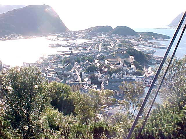 View on Ålesund as seen from a hill.