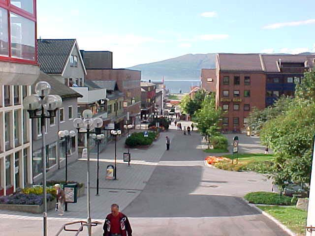 A view on the town centre shopping street, with a marvellous view on the fjord.