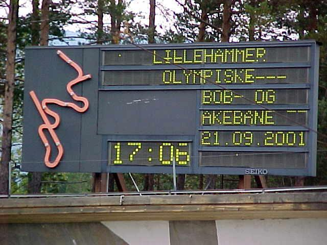 The signs of the Olympic bobsled tracks out side Lillehammer.