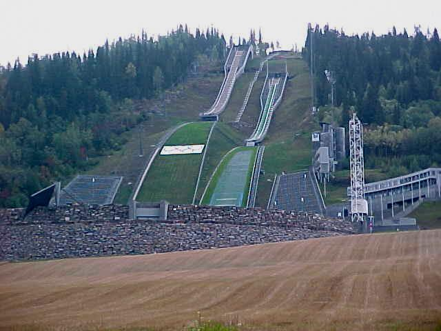 The 120 metres high ski jumps at the Olympic Park as seen from below.