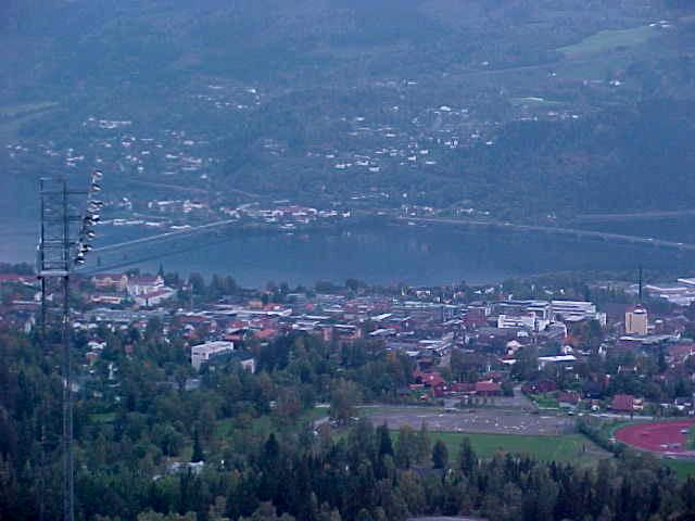 Lillehammer centre as seen from up the hill.