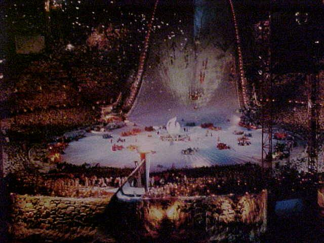 And a shot of a postcard which shows the Opening Ceremony at these ski jumps in 1994.