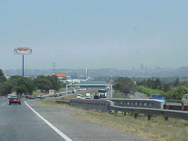 The skyline of Johannesburg, with the town centre at the right.