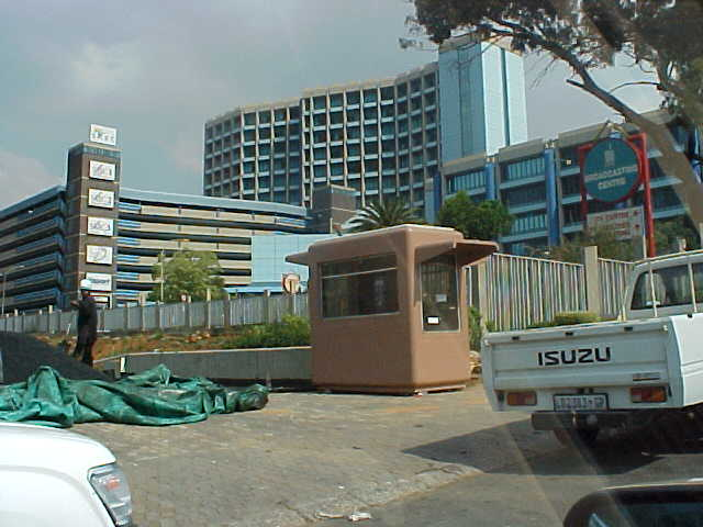 The heavily secured building complex or the South African radio and television stations.