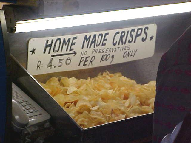 And chips (or crisps in the UK) is also handmade... no homemade.