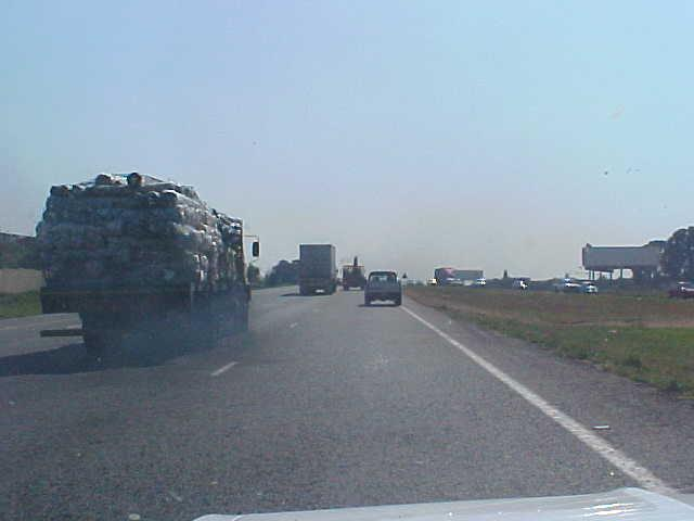 On the motorway almost 1 out of 10 trucks smoke. There is no sufficiant manpower yet to have controlled exhaust pipes.