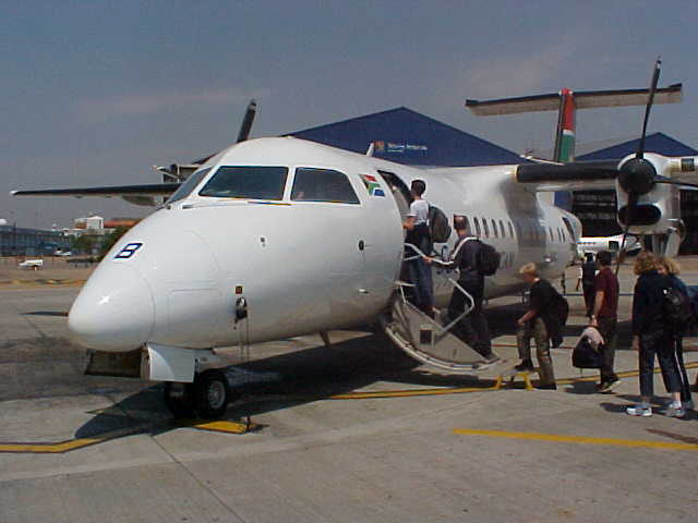 Boarding on the plane towards Hoedspruit.