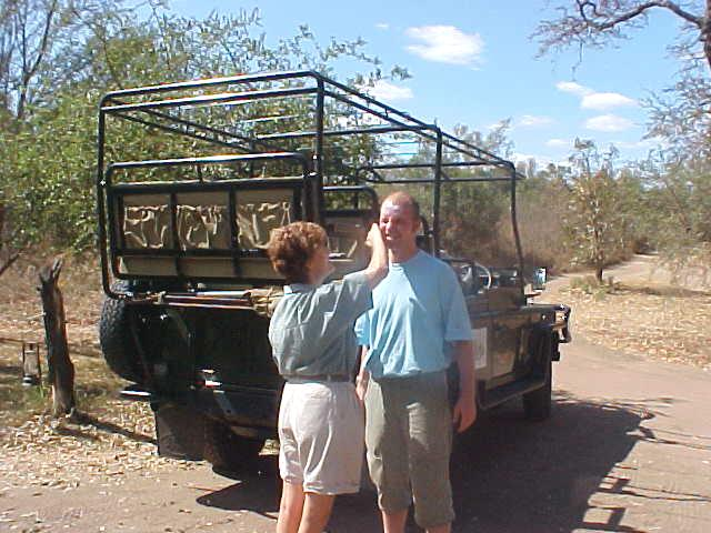 As I was going on a Game Drive through the reserve immediately after arrival, Karien sunblocked my head otherwise I would not survive the trip.
