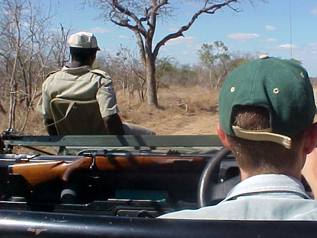 With ranger Philip on front of the car, David drove us through the dry bush.