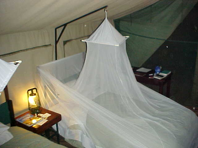 This is how I slept in my tent, my bed covered with a mosquito-net.