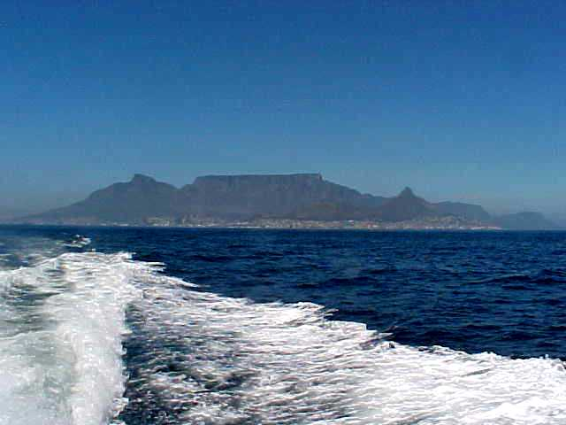 On the boat towards Robben Island, the view on central Cape Town.