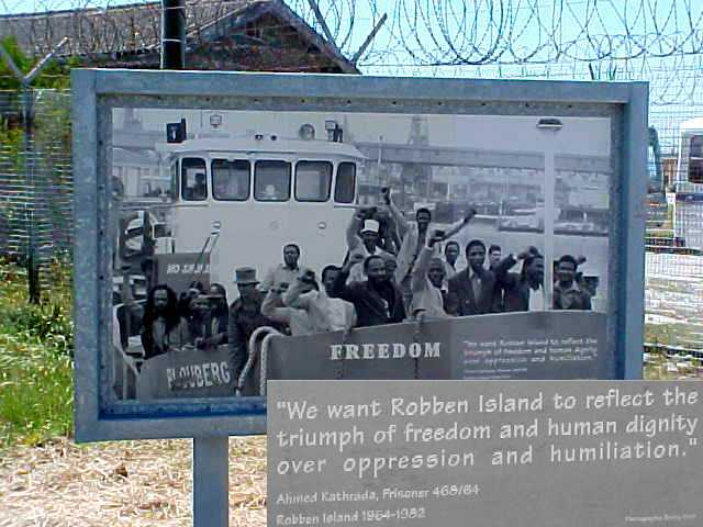 The sign outside the prison, where the people all walked when they were freed in 1991 and 92.