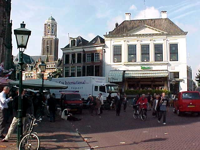 The famous Dutch historic centre-view of Zwolle. With the white building as De Harmonie, a fancy bar where I used to work.