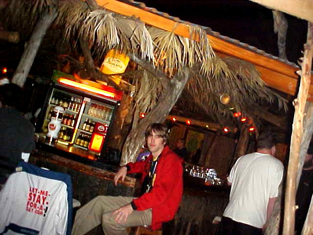Brian (and my jacket) at the bar in Cool Runnings.