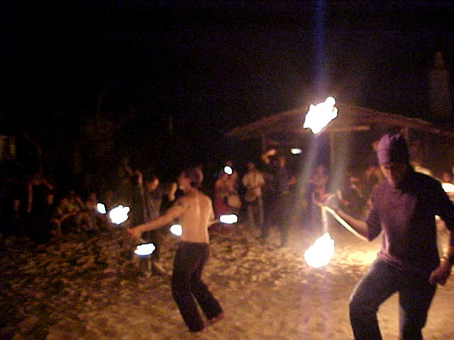 Fire spinners joined in, creating this mass movement of lights in the dark.