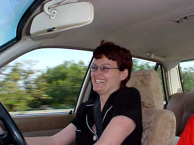 My following host Denise Eysele in her car home...