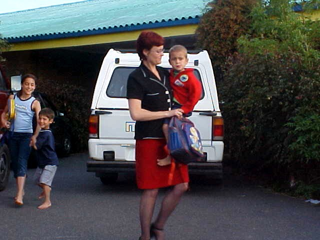 Denise picks up her sun Ryan from the kindergarten school around 6pm.