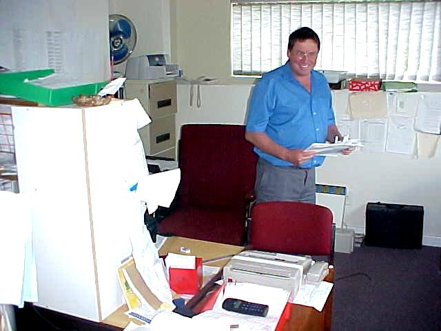 Its always nice to have your office in the house, here Brian Croucher at work.