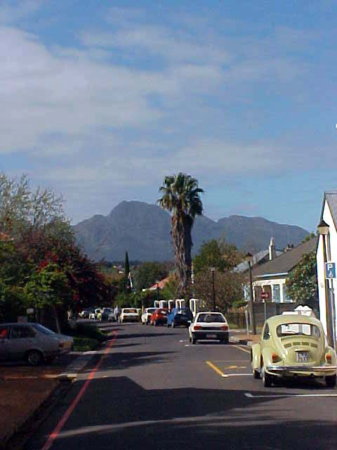 An images of Stellenbosch as seen from the Dorp Street (village street).