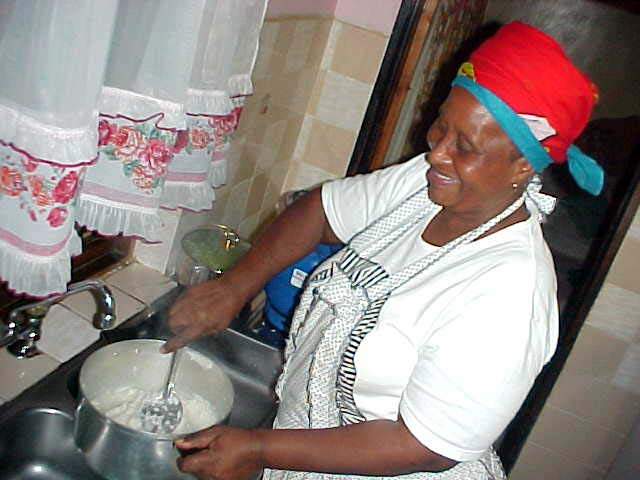 Shumi loves to cook, catering is her life style. Here she prepares the South African speciality milliepap.