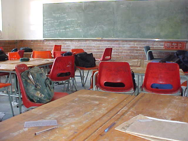 And while this was all going on, of course an exciting day for the kids, the class rooms were empty.