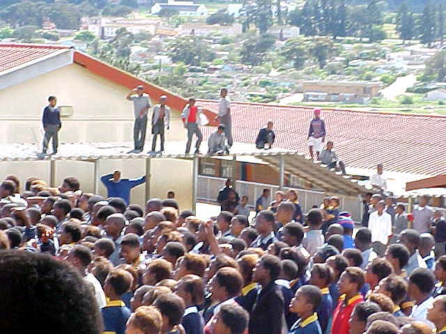 But the complete Simba event even attracted kids who do not go to the school and they even climbed on the roofs.
