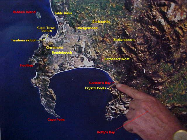 Patrick shows me my current location on this sattellite photograph of the Walkers Bay area. I added the extra names so you can see my previous locations.