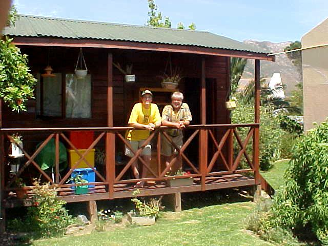 Patrick Seeton and me at the bunkhouse in bright sunlight. This is where I woke up this morning.
