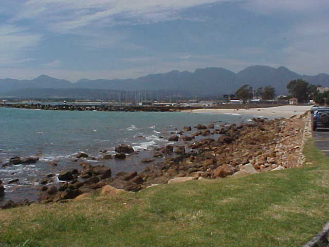 My last sight of Gordons Bay with Bikini Beach at the far right.