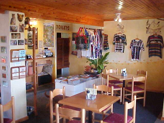 A view on the restaurant and the souvenir shop.