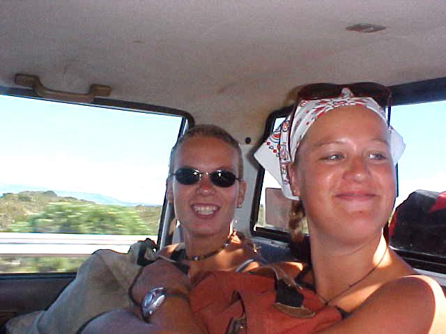 After a pickup at the Stanford gas station, I sat next to these two Dutch ladies who are enjoying a trip through South Africa, ready for a dive with the sharks...