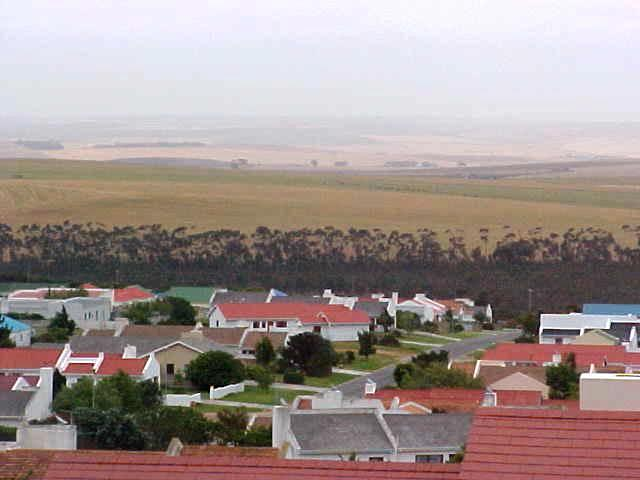 Pierce drove me upon a hill, overlooking Bredasdorp. Do you see the contrast? This really is a farm village.