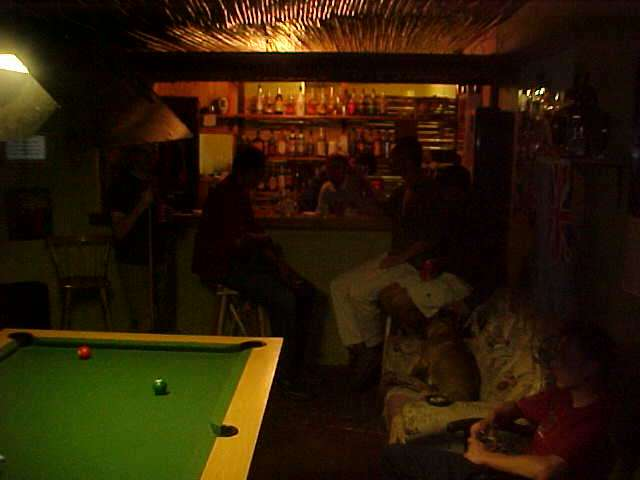 After the chat in the internet cafe I joined the rest of the guest in the pub as they were getting pretty drunk while playing pool for money.