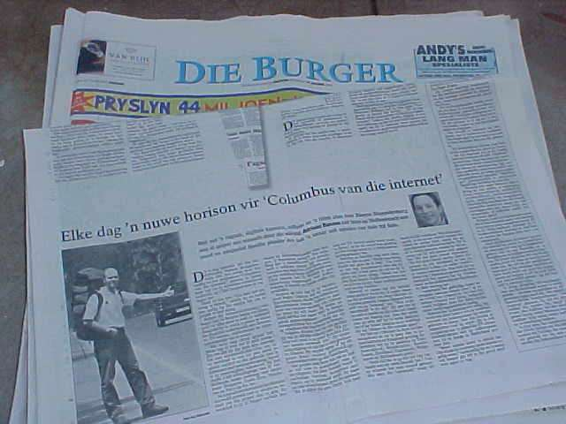 The Afrikaans newspaper Die Burger about me...