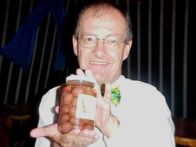 From my hosts in Prince Albert, Regina and Dick Billiet, he received a jar of fine Big Karoo olives...