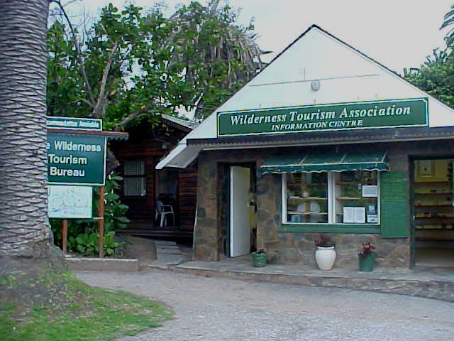 The Tourist Information Office of Wilderness. The hut next to it is the office, containing the only internet connection in town...