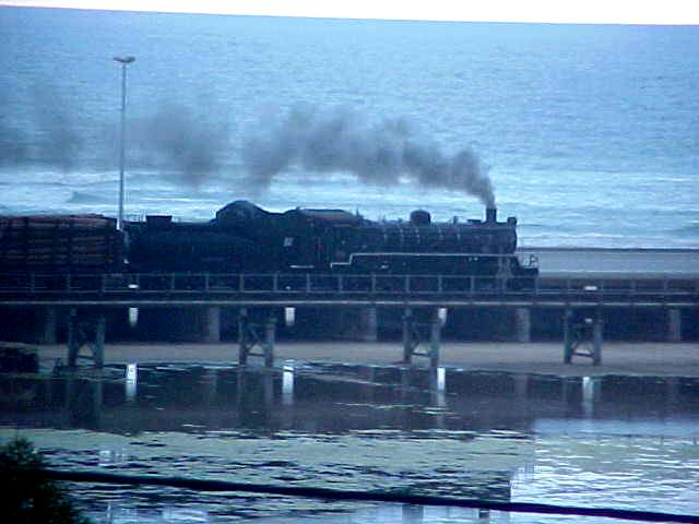 A few time per day this original old steam train rides up from George to Knysna and back.