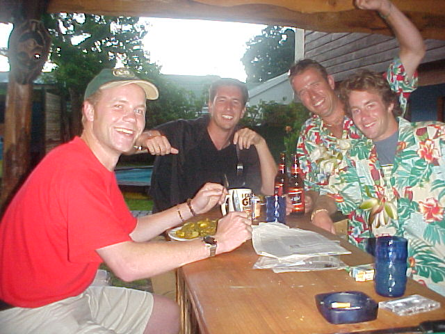 Dinner, a big filled stew, was served at the bar. Here I am I with German hiker Patrick and the Hawaiian-like owners Charles and Nick.