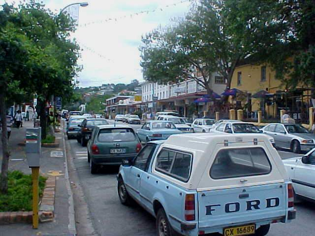 The exciting main street of Knysna, always something happening here.
