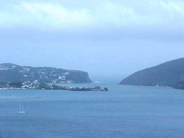 Zoomed in on the lagoon and the two Heads of Knysna.