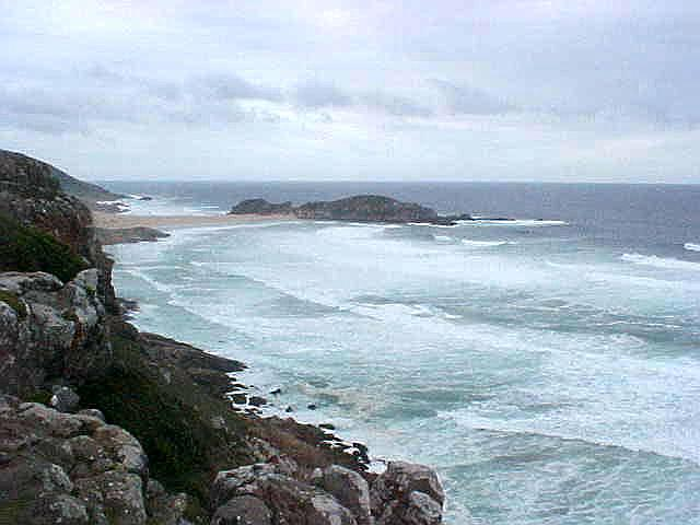Looking south on the Robberg Peninsula (Rob is Dutch for Seal), where the high waves hit the rocks and sandy beaches.