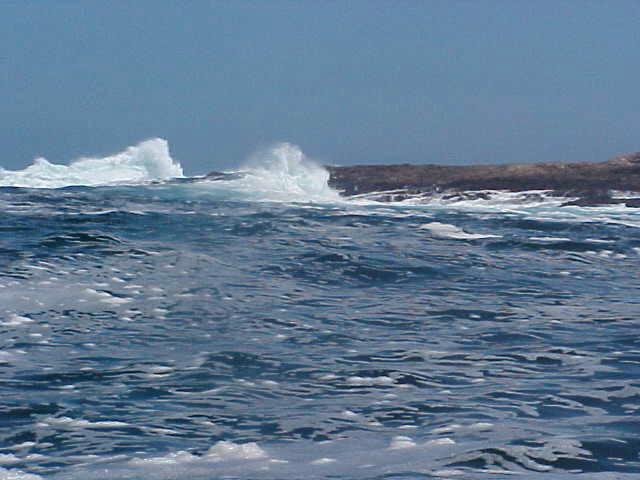 The end of the Robberg Peninsula where the waves hit the rocks.