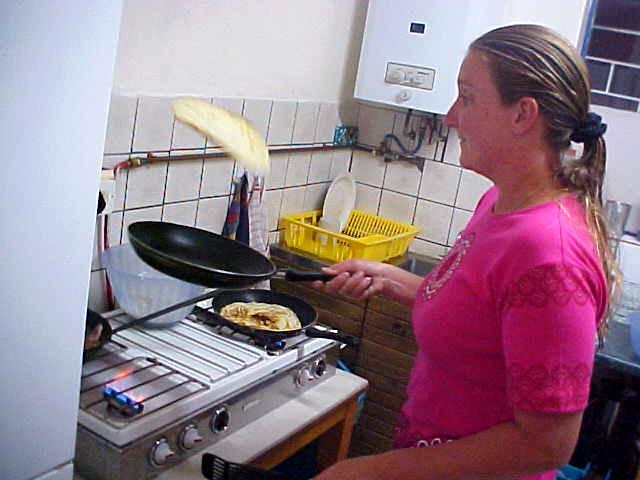 I had to teach it her, but here she goes: Mirjam the Pancake Flyer!