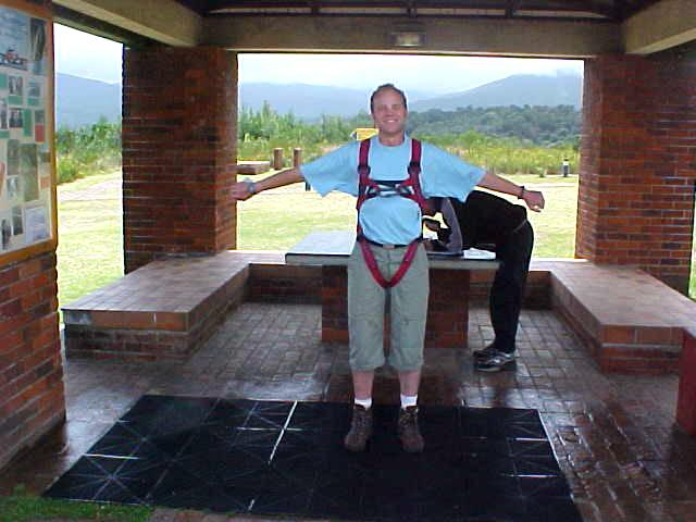And for the ocassion of a complimentary bungy jump down the 216 meters high bridge, I was getting dressed in this safety harnass.